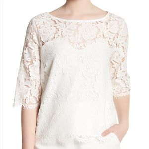 Cupcakes & Cashmere White Lace 3/4 Sleeve Top